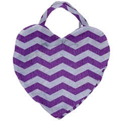 Chevron3 White Marble & Purple Denim Giant Heart Shaped Tote by trendistuff