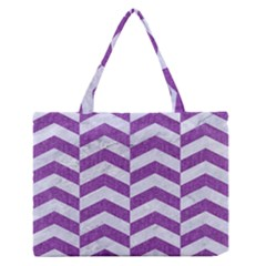 Chevron2 White Marble & Purple Denim Zipper Medium Tote Bag by trendistuff