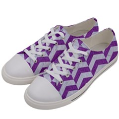 Chevron2 White Marble & Purple Denim Women s Low Top Canvas Sneakers by trendistuff
