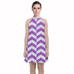 Chevron2 White Marble & Purple Denim Velvet Halter Neckline Dress  by trendistuff