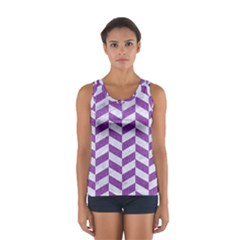 Chevron1 White Marble & Purple Denim Sport Tank Top
