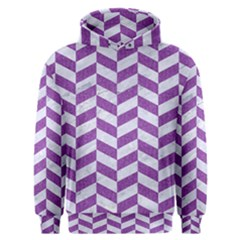 Chevron1 White Marble & Purple Denim Men s Overhead Hoodie