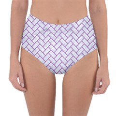 Brick2 White Marble & Purple Denim (r) Reversible High Waist Bikini Bottoms