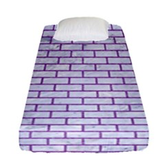 Brick1 White Marble & Purple Denim (r) Fitted Sheet (single Size) by trendistuff