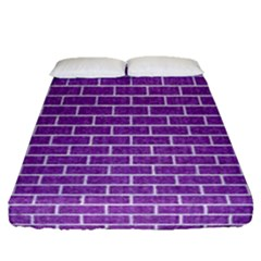 Brick1 White Marble & Purple Denim Fitted Sheet (queen Size) by trendistuff