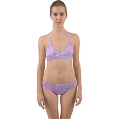 Soft Pink Watercolor Art Wrap Around Bikini Set