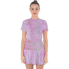 Soft Pink Watercolor Art Drop Hem Mini Chiffon Dress by yoursparklingshop