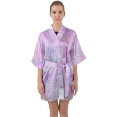 Soft Pink Watercolor Art Quarter Sleeve Kimono Robe by yoursparklingshop