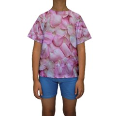 Romantic Pink Rose Petals Floral  Kids  Short Sleeve Swimwear by yoursparklingshop