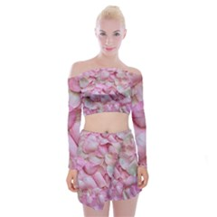 Romantic Pink Rose Petals Floral  Off Shoulder Top With Mini Skirt Set