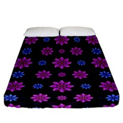 Stylized Dark Floral Pattern Fitted Sheet (california King Size) by dflcprints