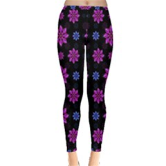 Stylized Dark Floral Pattern Inside Out Leggings