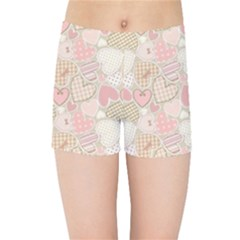 Cute Romantic Hearts Pattern Kids Sports Shorts by yoursparklingshop