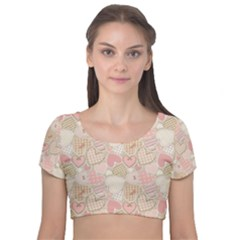 Cute Romantic Hearts Pattern Velvet Short Sleeve Crop Top  by yoursparklingshop