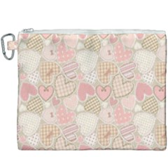 Cute Romantic Hearts Pattern Canvas Cosmetic Bag (xxxl) by yoursparklingshop