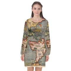 Vintage Map Long Sleeve Chiffon Shift Dress