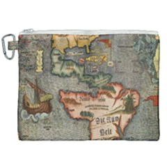 Vintage Map Canvas Cosmetic Bag (xxl)