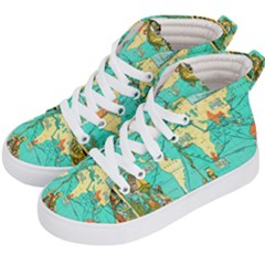 Vintage Map-1 Kid s Hi-top Skate Sneakers by ArtworkByPatrick