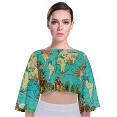 Vintage Map 1 Tie Back Butterfly Sleeve Chiffon Top
