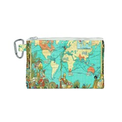 Vintage Map 1 Canvas Cosmetic Bag (small) by ArtworkByPatrick
