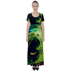 Abandoned Mine 3 High Waist Short Sleeve Maxi Dress