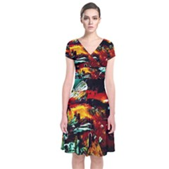 Grand Canyon Sunset Short Sleeve Front Wrap Dress