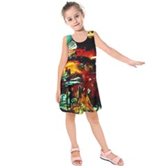Grand Canyon Sunset Kids  Sleeveless Dress