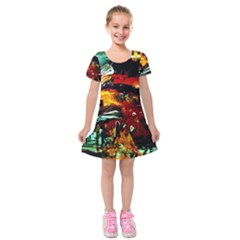 Grand Canyon Sunset Kids  Short Sleeve Velvet Dress
