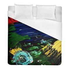 Tumble Weed And Blue Rose Duvet Cover (full/ Double Size) by bestdesignintheworld