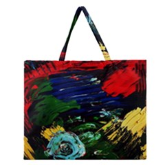 Tumble Weed And Blue Rose Zipper Large Tote Bag by bestdesignintheworld