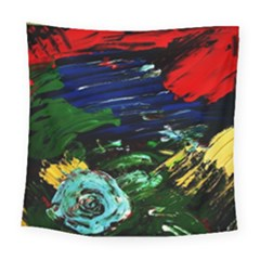 Tumble Weed And Blue Rose Square Tapestry (large) by bestdesignintheworld