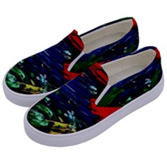 Tumble Weed And Blue Rose Kids  Canvas Slip Ons by bestdesignintheworld