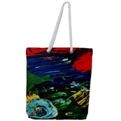 Tumble Weed And Blue Rose Full Print Rope Handle Tote (large) by bestdesignintheworld