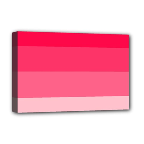 Pink Scarlet Gradient Stripes Pattern Deluxe Canvas 18  X 12   by yoursparklingshop