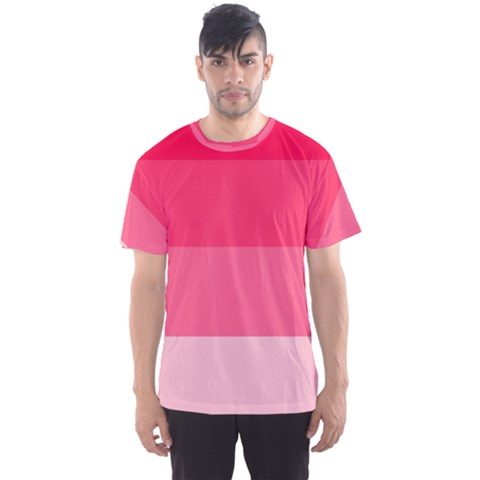 Pink Scarlet Gradient Stripes Pattern Men s Sports Mesh Tee by yoursparklingshop