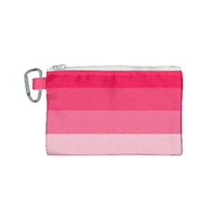 Pink Scarlet Gradient Stripes Pattern Canvas Cosmetic Bag (small) by yoursparklingshop