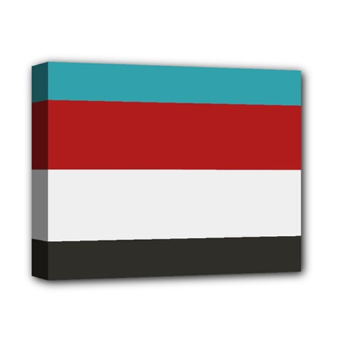 Dark Turquoise Deep Red Gray Elegant Striped Pattern Deluxe Canvas 14  X 11  by yoursparklingshop
