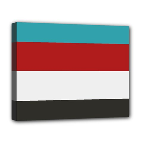 Dark Turquoise Deep Red Gray Elegant Striped Pattern Deluxe Canvas 20  X 16   by yoursparklingshop