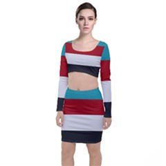 Dark Turquoise Deep Red Gray Elegant Striped Pattern Long Sleeve Crop Top & Bodycon Skirt Set