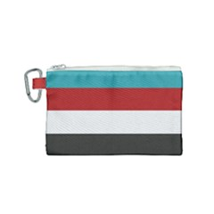 Dark Turquoise Deep Red Gray Elegant Striped Pattern Canvas Cosmetic Bag (small) by yoursparklingshop