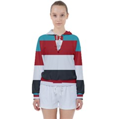 Dark Turquoise Deep Red Gray Elegant Striped Pattern Women s Tie Up Sweat