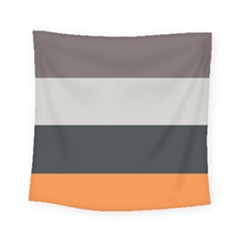 Orange Sand Charcoal Stripes Pattern Striped Elegant Square Tapestry (small) by yoursparklingshop