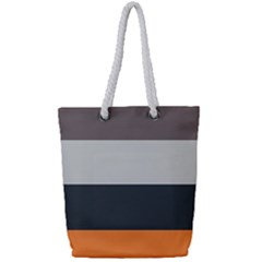 Orange Sand Charcoal Stripes Pattern Striped Elegant Full Print Rope Handle Tote (small) by yoursparklingshop
