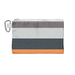 Orange Sand Charcoal Stripes Pattern Striped Elegant Canvas Cosmetic Bag (medium) by yoursparklingshop