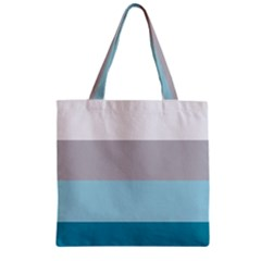 Blue Gray Striped Pattern Horizontal Stripes Zipper Grocery Tote Bag by yoursparklingshop
