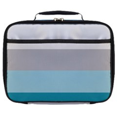 Blue Gray Striped Pattern Horizontal Stripes Full Print Lunch Bag