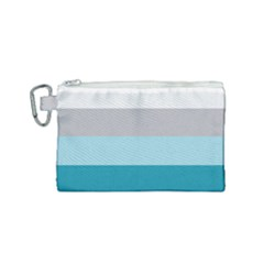 Blue Gray Striped Pattern Horizontal Stripes Canvas Cosmetic Bag (small) by yoursparklingshop