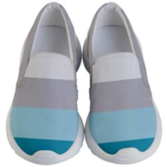 Blue Gray Striped Pattern Horizontal Stripes Kid s Lightweight Slip Ons