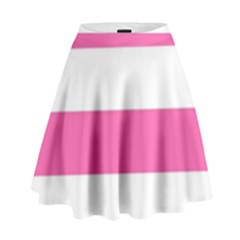 Horizontal Pink White Stripe Pattern Striped High Waist Skirt by yoursparklingshop