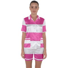 Horizontal Pink White Stripe Pattern Striped Satin Short Sleeve Pyjamas Set by yoursparklingshop